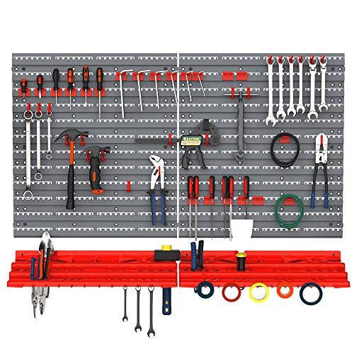 DURHAND Werkzeuglochwand Wandregal 54 TLG Werkzeughalter Werkzeugwand für Werkstatt Sichtlagerkästen Hakenset PP Grau+Rot 53,5x23x95,5 cm