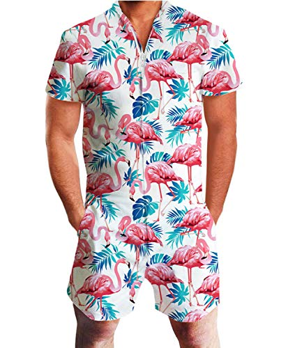 Idgreatim Herren Jumpsuit Herren Overall personalisiert gedruckt Reißverschluss Shorts Strampler One Piece Slim Fit L