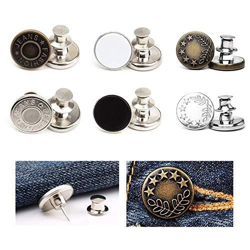 O'woda Jeans Knöpfe No-Sew Einstellbar Ersatz Metall Tack Buttons Kit mit Nieten und Metallbasis für Jacken, Jacken, Reparatur von Kleidung, DIY 12 Stück 17mm (Bronze)