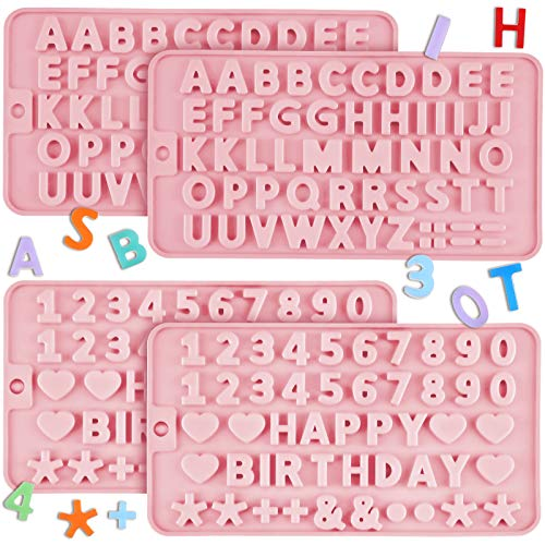 4 Pieces Letter Silicone Molds Happy Birthday Alphabet Silicone Cake Baking Mold Letter Number Chocolate Molds for Cake Candy Chocolate Decorating Tray (Pink)