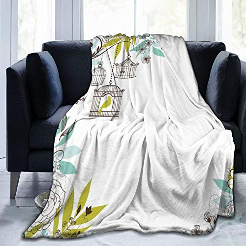 Manta mullida con fondo floral con pájaros tropicales que vuelan lejos de jaulas, manta suave para dormitorio, cama de 127 x 101 cm