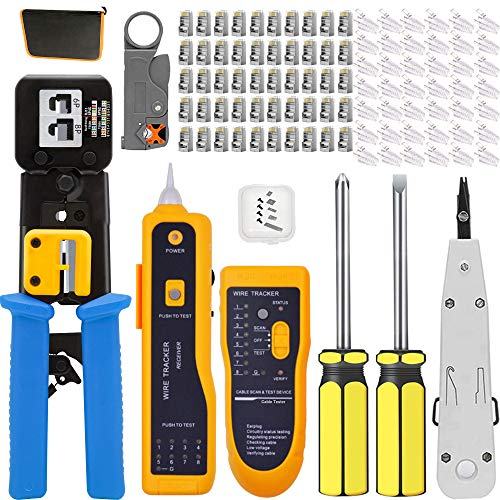 MAYLINE - Kit de red informática, kit de herramientas de red RJ45 RJ11 Cat5e Cat6 Cat7 Herramienta de engaste/crimpadora, 50 unidades RJ45 (azul)