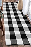 EARTHALL Buffalo Plaid Rug Black and White 2'x6' Cotton, Hand-Woven Check Door Mat, Hallway Runner, Washable Outdoor Rug Front Porch/Living Room/Laundry Room/Bedroom (23.6''x70.8'')