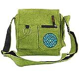 GURU SHOP Bolso de Hombro, Bolso Hippie - Verde, Unisex - Adultos, Algodón, Tama�o:One Size, 25x25x7 cm, Bolsas de Hombro
