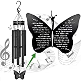 Memorial Butterfly Wind Chimes of Father Sympathy Gifts Loss of Mom Dad Grandma Husband Outdoor Chimes for Patio Garden Porch Yard Black