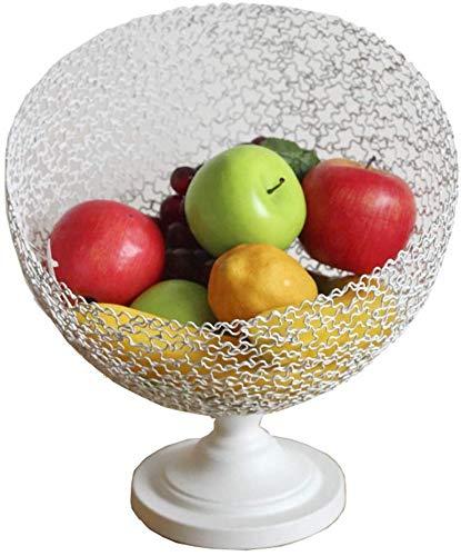 QTQHOME Panier de Fruits Porte-Fruits Pied élevé Art du Fer Creux Ménage créatif Grand Bonbon Personnalité du Pot de Fruits (Couleur:Blanc,Taille:22x26)