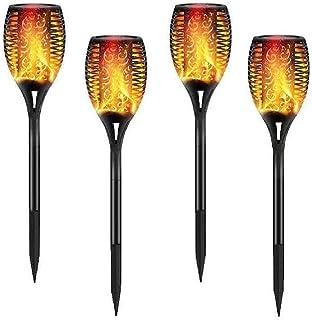N\C Utomhus LED solcellslampa LED utomhus markplugg trädgårdslampa 4 uppsättningar med fackla flameffekt LED uppladdningsb...