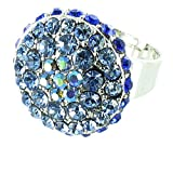 Azul de plata piedra anillo redondo con tapa