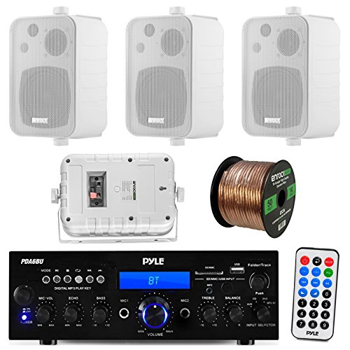 "Pyle PDA6BU 200-Watt 2-Channel Digital USB/AUX FM Radio Stereo Amplifier Receiver, Bundle Combo With 4x Enrock EKMR408W 4"" Inch 200-Watt 3-Way White Box Speakers, 50 Feet 16-Gauge Speaker Wire"