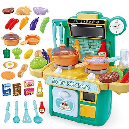 NIWWIN Niños Chef Cocina en Miniatura Cocina Juego de Juego de plástico 26 Accesorios con encimera Juguete Comida, Agua, luz y Sonido Juguete de simulación Divertido (Verde)