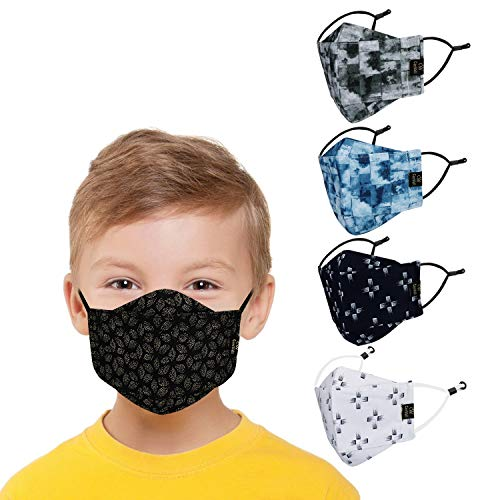 CENWELL 5 Pcs Kids Mask Reusable Washable Breathable Face Mask with Adjustable...