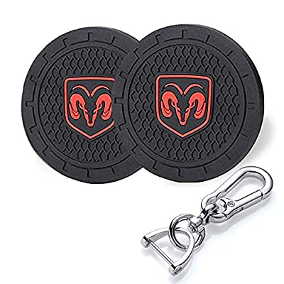 YANGYI 2.75 Inch Car Interior Accessories for Dodge Ram Cup Holder Insert Coaster - Silicone Anti Slip Cup Mat for Dodge Ram Charger Challenger Journey Durango Grand Caravan(2 Pack)