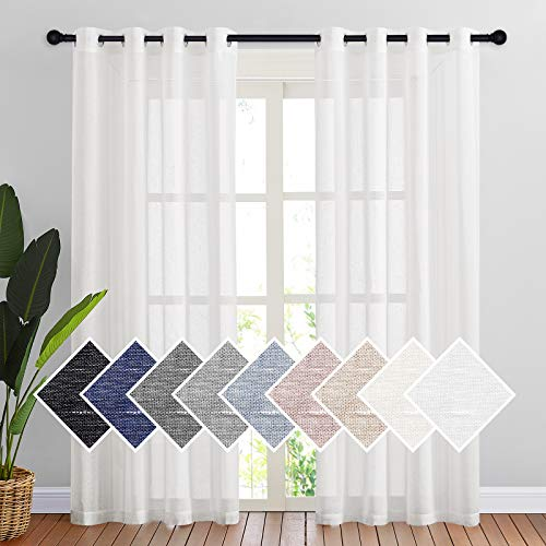 NICETOWN White Linen Curtains Flax Sheer Window Treatment 84 inch Length, Grommet Durable Semi Sheer Privacy with Light Filtering Vertical Drapes for Bedroom / Living Room, W52 x L84, 2 Panels