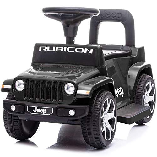 電動カー 電動乗用玩具 JEEP WRANGLER RUBICON ジープ ラングラー ルビコン 電動ミニ 足けり乗用 電動カー 押し車 子供が乗れる 乗用玩具 JEEP (ブラック)