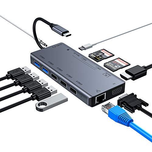 USB C Hub, 13-in-1 USB C Hub with Ethernet, 4K-HDMI, VGA, 3 USB 2.0, 2 USB 3.0, 3-Slot-Kartenleser, 3,5mm Audio und Stromversorgung, USB C Hub Adapter Kompatibel mit MacBook, Dell, HP und mehr