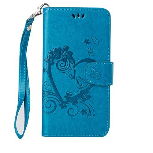 Lomogo [Moto G4 Play Hülle Leder, Schutzhülle Brieftasche mit Kartenfach Klappbar Magnetisch Stoßfest Handyhülle Case für Motorola Moto G4Play - LORXZ020629 Blau