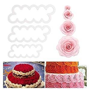 fanshiontide 3Pcs Cortador de pétalos de rosa Herramienta de decoración de pasteles Molde de fondant de flor de hielo Cortador de galletas DIY Accesorios para hornear