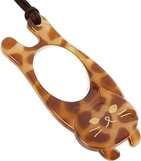 MIDI-ミディペンダント型ルーペ 背のびするネコ 猫(ニャンコ) ルーペ伸ニャン アクセサリー ルーペ 1.75倍 ブラウン プリントメガネ拭き 2点セット (p-pr16-cbr,p-k0055)