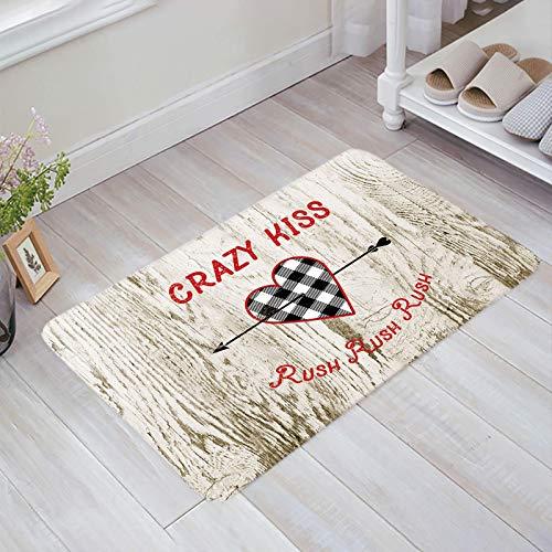 Alfombra estera del piso Tapetes Felpudo Flecha al corazón Grano de madera rústica gris del campo alfombras 40X60CM