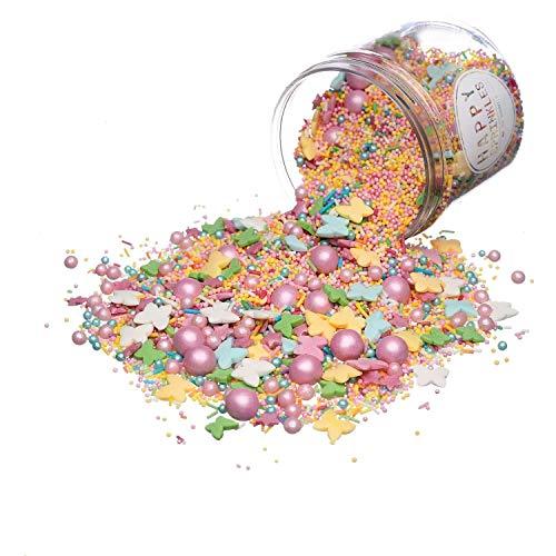 Happy Sprinkles Pastell Summer| Zuckerstreusel Mix bunt | Für Torten Kuchen Plätzchen Muffin Eis | Nonpareilles Schmetterlinge & Schoko Perlen | Zuckerdekor rosa gelb grün (180g)