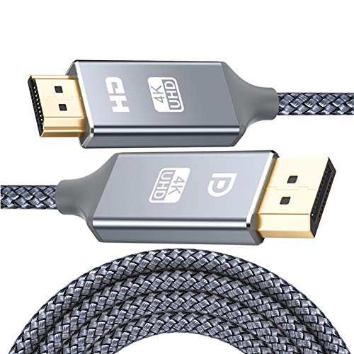 DisplayPort auf HDMI Kabel 4K 3m,DP zu HDMI Kabel Nylon Geflochtener,Snowkids Display Port Stecker zu HDMI Stecker UHD 4K verbindungskabel für HDTV,Monitor,Laptop,PC,Beamer,Grafikkarten-Grau