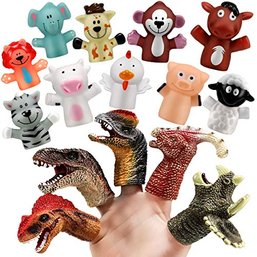 Geyiie Finger Puppets Toys, Animal Puppets Dinosaur Head Finger Puppets for Kids, Rubber Role Playing Toys Story Time Puppets Gift for Goodie Bag Fillers, Fathers Day, 15 pcs