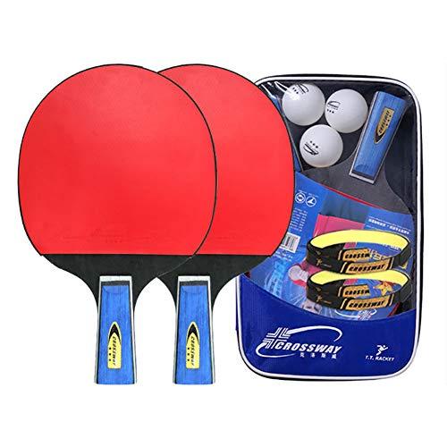 FHISAO Los murciélagos de Tenis de Mesa, Pluma-sostiene el Caucho del Ping-Pong de la Raqueta Set con 3 Bolas de Ping-Pong para los Principiantes, Aficionados, Entrenadores,A