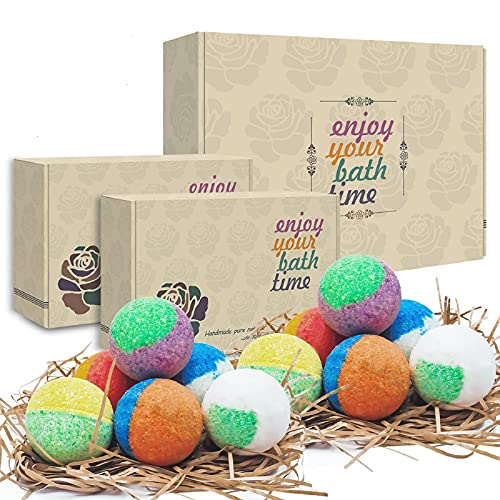 12 Organic & Natural Bath Bombs, Handmade Bubble Bath Gift Set, Rich in Essential Oil, Fizzy Spa to Moisturize Dry Skin, Gift For Women