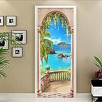 ZWYCEX ドアステッカー ホームインテリアドアステッカー3Dシーサイド写真の壁画の壁紙リビングルームのベッドルームPVCの自己接着防水クリエイティブDIYステッカー (Sticker Size : 95x215cm)