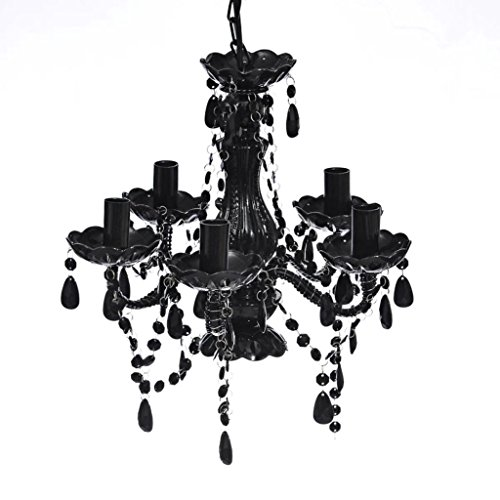 vidaXL kristallen kroonluchter 5 vlammen zwart kroonluchter plafondlamp hanglamp, plastic