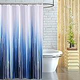 Cortina Baño 180x200cm, Queta Cortina de Ducha Resistente al Moho Poliéster con Agujeros Ganchos Impermeable Lavable Shower Curtian, Azul