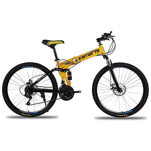 MoMi Folding Mountain Bike 20/24/26 inch high Carbon Steel 21/24/27 Speed disc Brake Shift Male and Female Bicycles,Yellow,26in/24speed