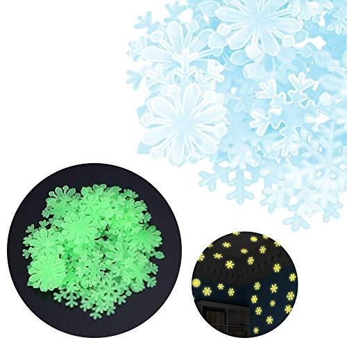 BANNAB 50 Pegatinas de Pared de Copo de Nieve Fluorescentes Que Brillan en la Oscuridad del Dormitorio de los niños Hermosos (Azul)