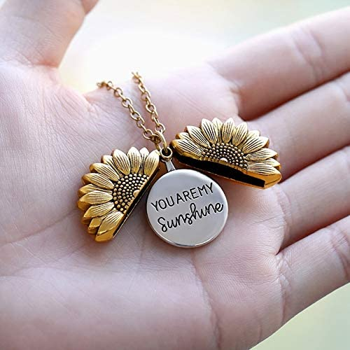 Sunflower Necklaces For Women Super beauty product restock quality top Stainless Baltimore Mall You Steel Locket Open ar