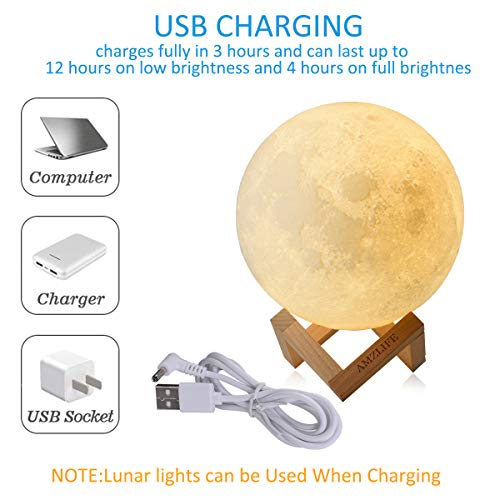 "[Newest Design] AMZLIFE 3D Printing Moon Light Works While Charging, 5.9"" Tap Control Rechargeable Moon Lamp with Multi-colors LED, Lunar Night Light for Home Decor, Kids, and Lover"