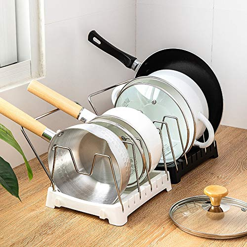 PPuujia Estante de almacenamiento de utensilios de cocina organizador de tapa ajustable para hornear de acero inoxidable para gabinete de despensa (color: negro, tamaño: 21,5 x 17,5 x 16 cm)