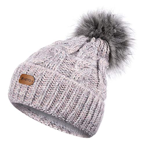 HEYO Damen Wintermütze | Bommelmütze | H18594 | Beanie mit Fleece gefüttert | Warme Strickmütze mit Kunstfell- Bommel Multicolor