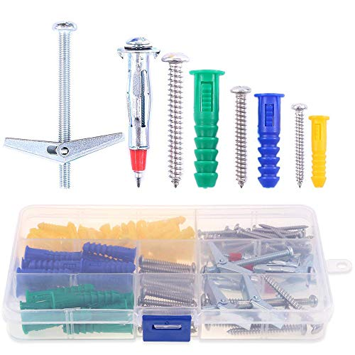 uxcell 6mm x 26mm Plastic Expansion Pipe Column Concrete Drywall Anchor Wall Plug Frame Fixings Tube with Screws Translucent 50pcs