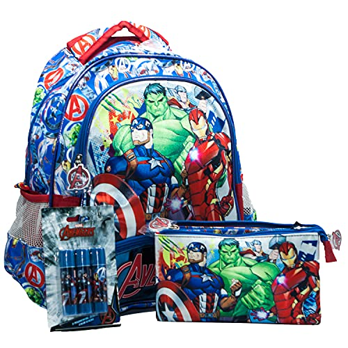 KIT Marvel Zaino e Astuccio Bustina Scuola Elementare Bimbo Supereroi Captain America, Iron Man, Thor E Hulk, Zaini Bambino Per Elementari, Asilo, Idee Regali Per Ragazzi (kit_AVENGERS)