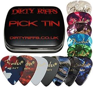 Fender - Púas de celuloide para guitarra, 12 púas de calibre pesado, 1 de cada color, estilo 351 en una práctica caja de púas