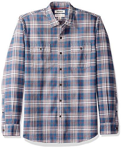 Amazon Brand - Goodthreads Men's Standard-Fit Long-Sleeve Plaid Twill Shirt, Medium Blue, Large