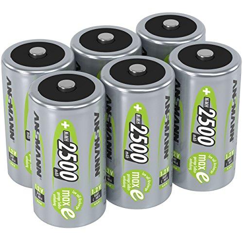 Pile ANSMANN C 2500 mAh NiMH 1,2 V (lot de 6) - batteries rechargeables baby C, faible autodécharge maxE pour une utilisation pendant plusieurs années