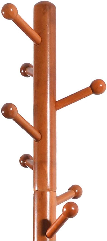 JQWGYYMJ Coat Rack, 180×40×40cm,Floor-Standing Coat Rack Rubber Wood Mushroom Head Hanger Honey color