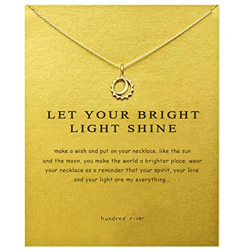 Baydurcan Friendship Moon and Sun Necklace Moon and Sun Pendant Chain Necklace with Message Card Gift Card (gold moon and sun)