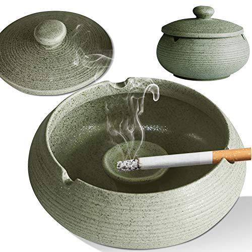 Ashtray for Patio Ceramic Ash tray with Lid Water Tank, Outdoor Indoor Ashtray Windproof, Odor Proof Cute Ashtray for Men Woman Home Office Decoration Cigar ash Trays with 3 Ash Holder (Grey)