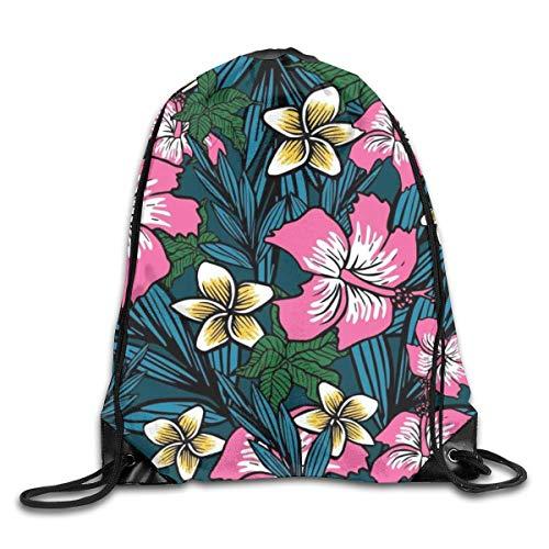 Bolsas de cuerdas Mochila de Cuerdas Fondo de flores polinesias para Picnic Gym Sport Beach Yoga Gym Sack Mochilas Cordón 36X43CM