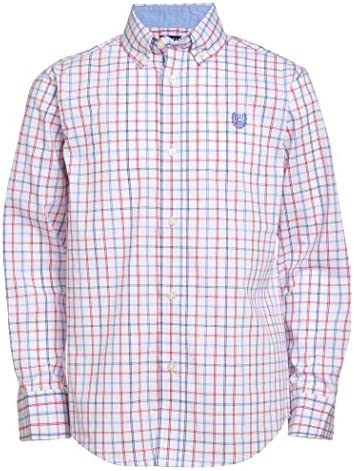 Chaps Boys Big Long Sleeve Plaid Button Down Woven Shirt Isaac White Small 8 product image