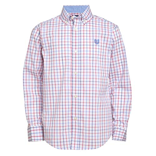 Chaps Boys' Big Long Sleeve Plaid Button-Down Woven Shirt, Isaac White, Medium (10/12)