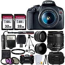 """Canon EOS Rebel T7 cámara DSLR + EF-S 0.709-2.165in f 3.5-5.6 is II lente + 2.283in 2 X profesional Telephoto y 2.283in lente gran angular + 64 GB tarjeta de memoria + DC59 funda + 60 """" trípode + Flash Esclavo + Filtros UV"""