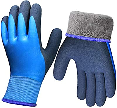 Pro Winter Waterproof Work Gloves, Superior Grip Coating Thermal Liner Insulated Warm for Men Garden Cold Weather Outdoor Snow Multi-Purpose